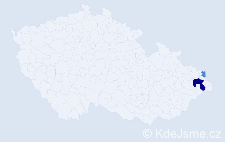 Příjmení: 'Heimerová', počet výskytů 7 v celé ČR