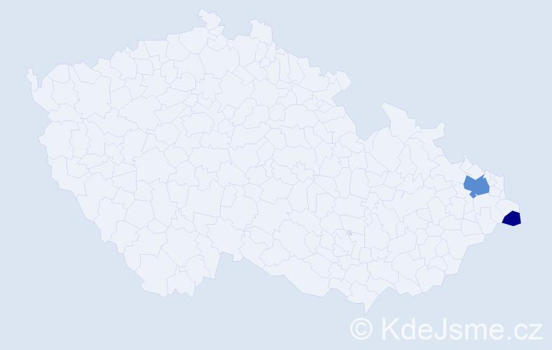 Příjmení: 'Jahřabáč', počet výskytů 5 v celé ČR