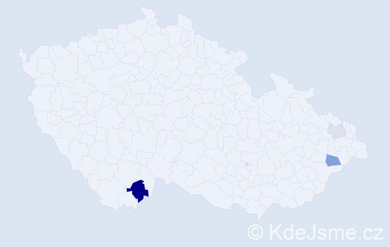 Příjmení: 'Höriková', počet výskytů 4 v celé ČR