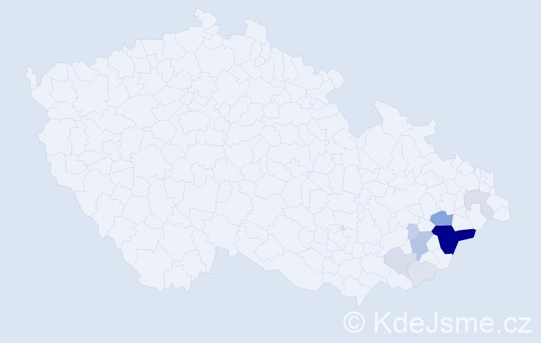 Příjmení: 'Blizňáková', počet výskytů 49 v celé ČR