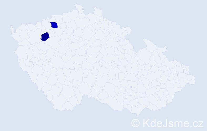 Příjmení: 'Klepács', počet výskytů 5 v celé ČR