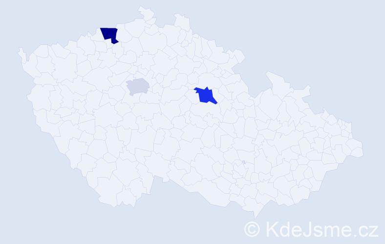 Příjmení: 'Kruger', počet výskytů 9 v celé ČR