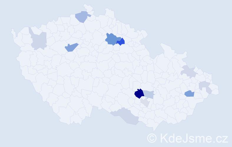 Příjmení: 'Hlosková', počet výskytů 25 v celé ČR