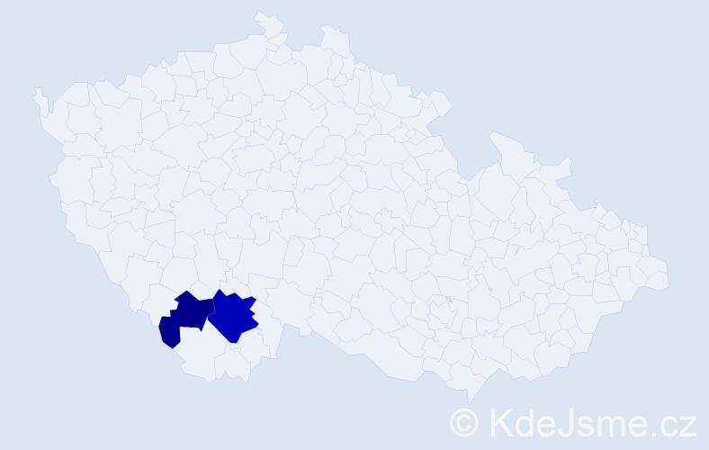 Příjmení: 'Jánosovits', počet výskytů 4 v celé ČR