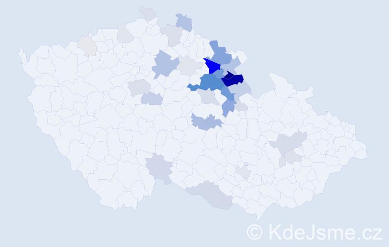 Příjmení: 'Hojný', počet výskytů 159 v celé ČR