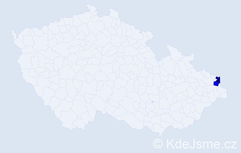 Příjmení: 'Kaplita', počet výskytů 6 v celé ČR