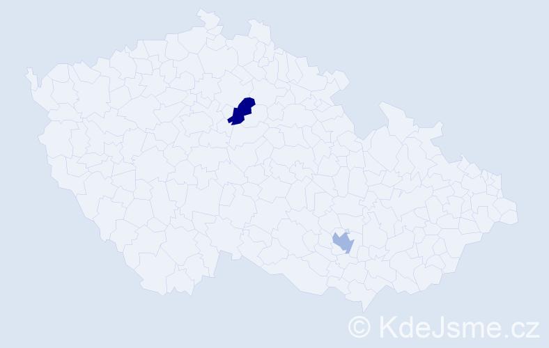 Příjmení: 'Daser', počet výskytů 2 v celé ČR