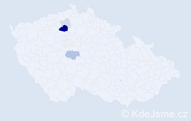 Příjmení: 'Černostová', počet výskytů 13 v celé ČR