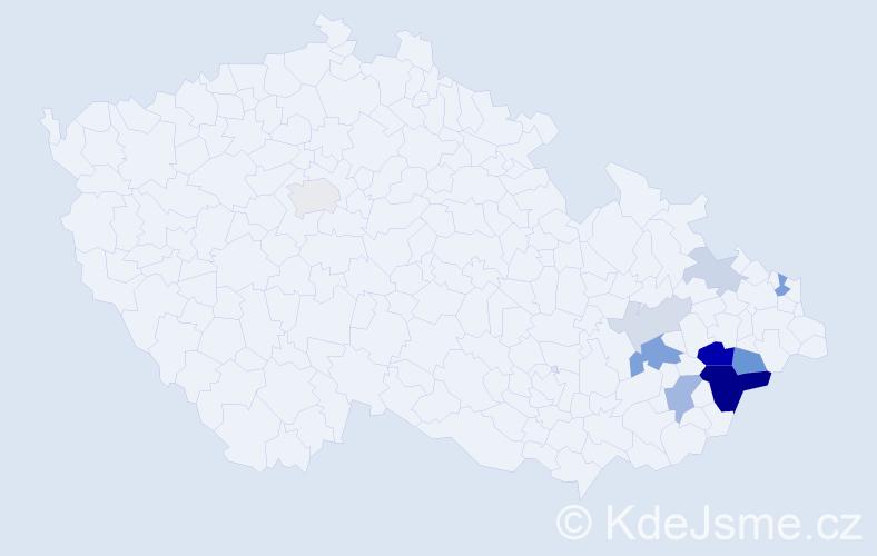 Příjmení: 'Gřešák', počet výskytů 29 v celé ČR