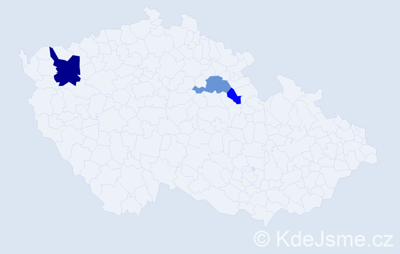 Příjmení: 'Kublent', počet výskytů 7 v celé ČR