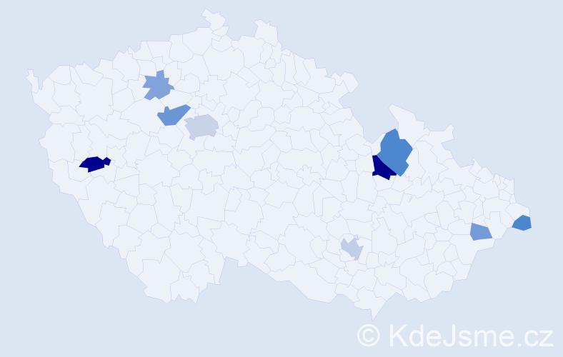 Příjmení: 'Hunter', počet výskytů 21 v celé ČR