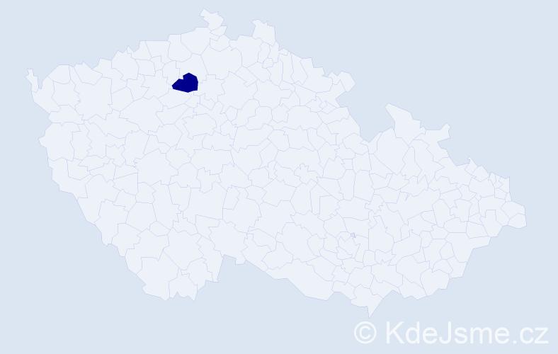 """Příjmení: '""""Agatensi Voláková""""', počet výskytů 1 v celé ČR"""