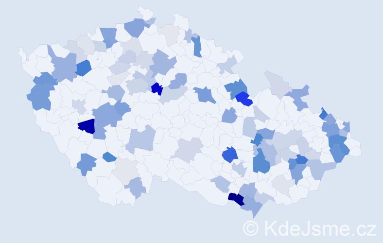Příjmení: 'Greguš', počet výskytů 263 v celé ČR