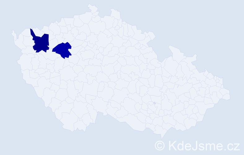 Příjmení: 'Čolič', počet výskytů 5 v celé ČR