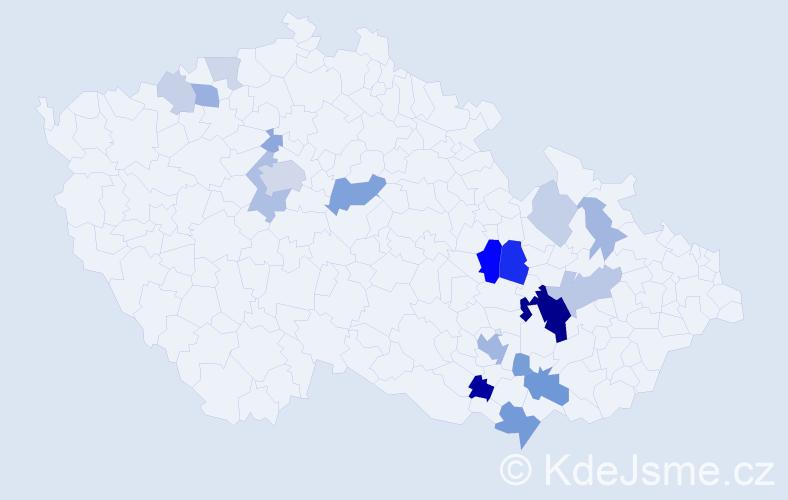 Příjmení: 'Čehovská', počet výskytů 57 v celé ČR