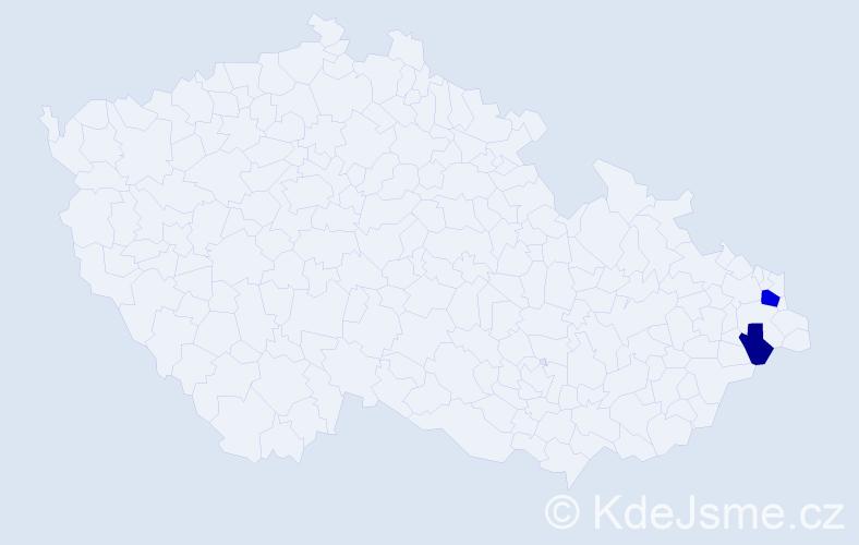 Příjmení: 'Kajpuš', počet výskytů 4 v celé ČR