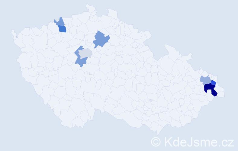 Příjmení: 'Garová', počet výskytů 25 v celé ČR