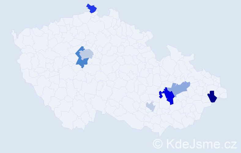 Příjmení: 'Bondarenková', počet výskytů 12 v celé ČR