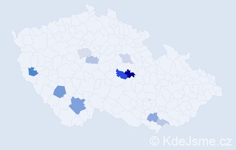 Příjmení: 'Haan', počet výskytů 21 v celé ČR