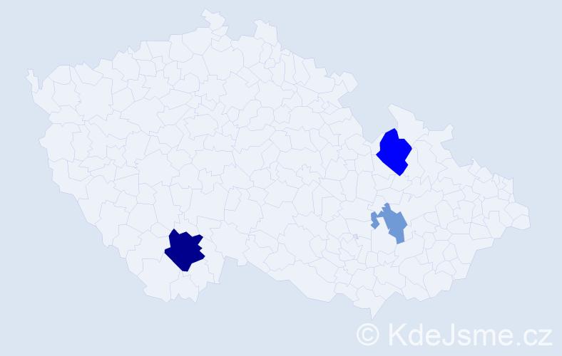 Příjmení: 'Kontroš', počet výskytů 7 v celé ČR