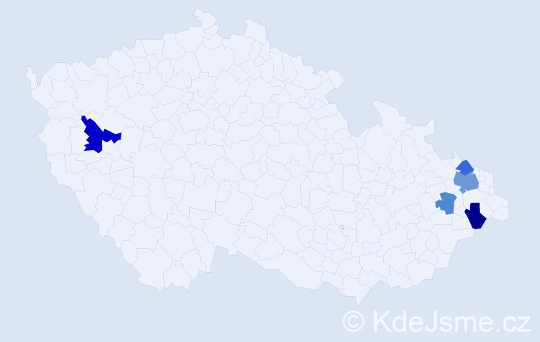 Příjmení: 'Majirková', počet výskytů 8 v celé ČR
