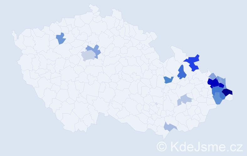 Příjmení: 'Kačmarčíková', počet výskytů 62 v celé ČR