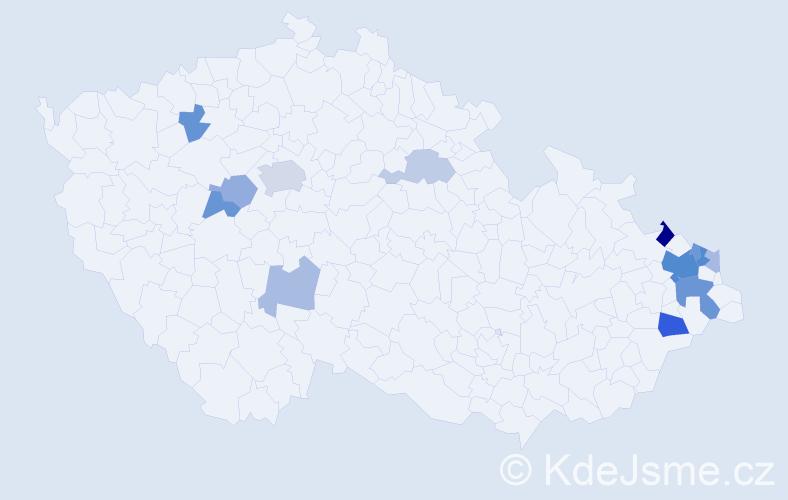 Příjmení: 'Deptová', počet výskytů 29 v celé ČR