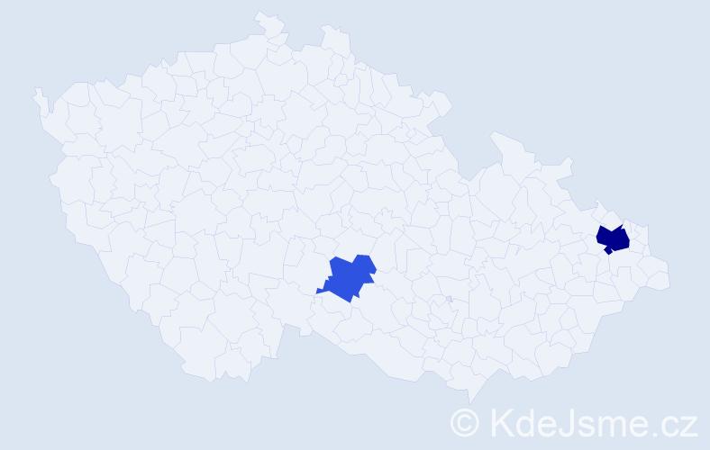 Příjmení: 'Čáska', počet výskytů 5 v celé ČR