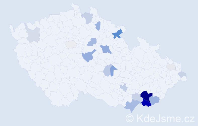 Příjmení: 'Ťoková', počet výskytů 60 v celé ČR
