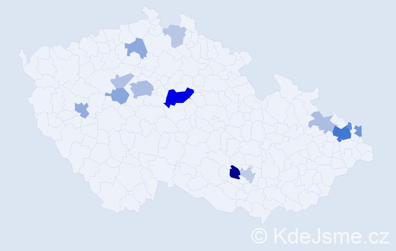 Příjmení: 'Čahojová', počet výskytů 36 v celé ČR