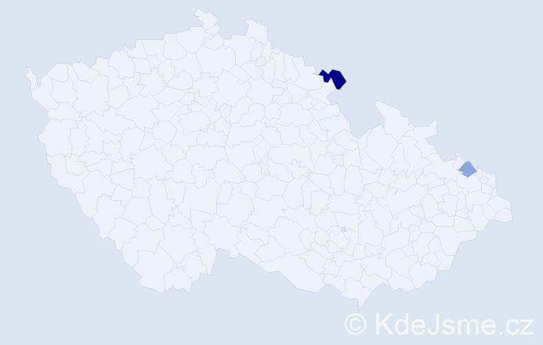 Příjmení: 'Hliník', počet výskytů 3 v celé ČR