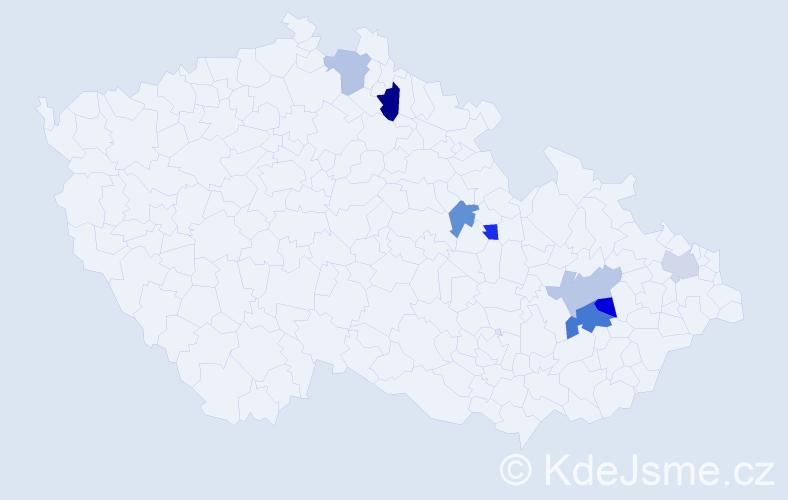 Příjmení: 'Gardián', počet výskytů 11 v celé ČR