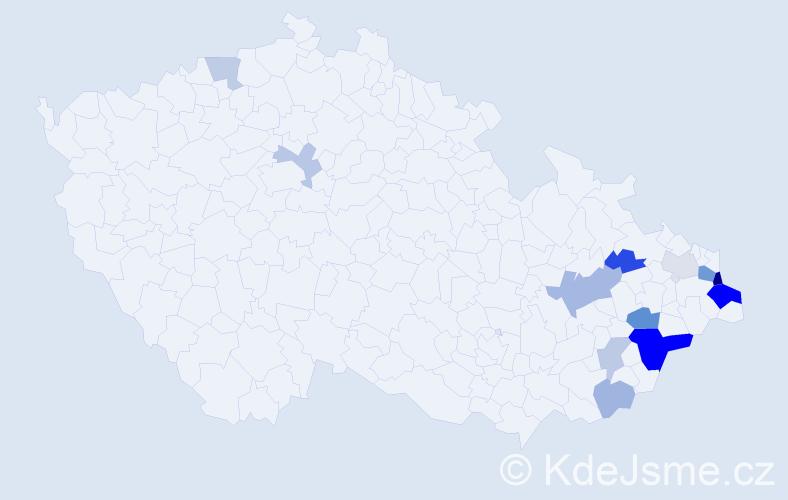 Příjmení: 'Korabík', počet výskytů 27 v celé ČR