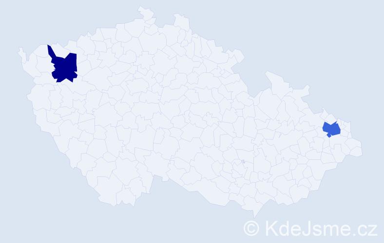 Příjmení: 'Doblej', počet výskytů 5 v celé ČR