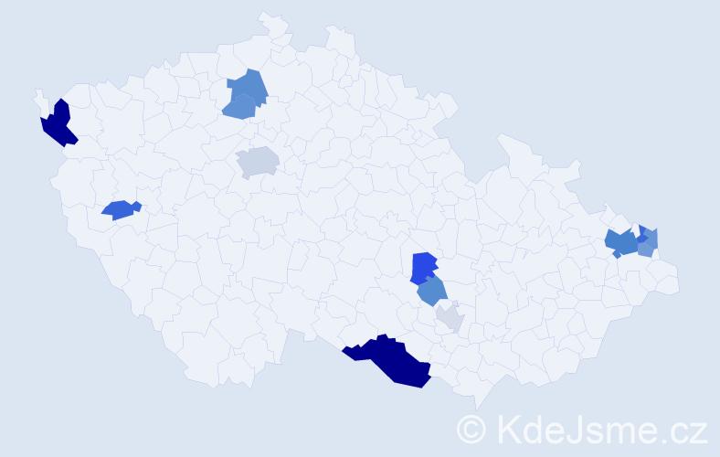 Příjmení: 'Cuper', počet výskytů 35 v celé ČR