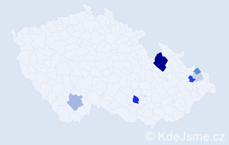 Příjmení: 'Hantková', počet výskytů 9 v celé ČR