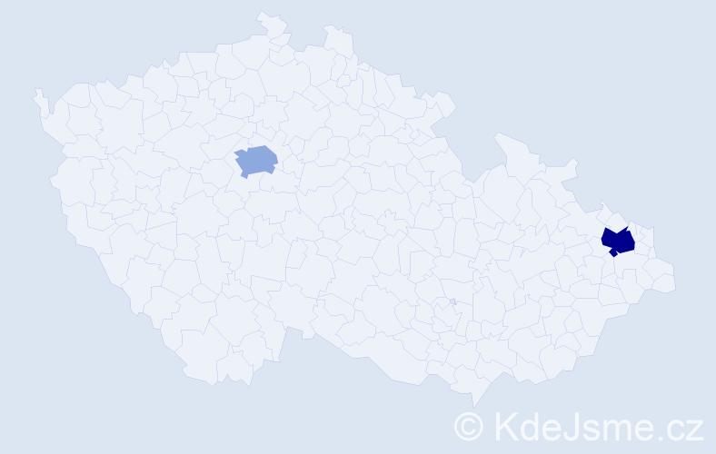 Příjmení: 'Kapcala', počet výskytů 5 v celé ČR