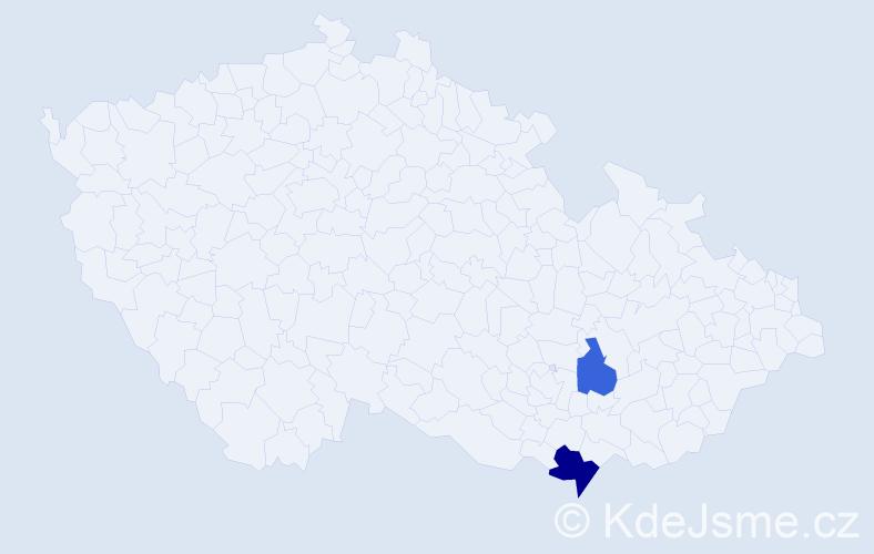 Příjmení: 'Brloh', počet výskytů 3 v celé ČR