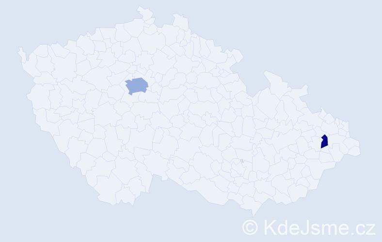 Příjmení: 'Ceccarelli', počet výskytů 4 v celé ČR