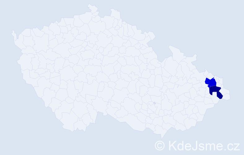 Příjmení: 'Čiloková', počet výskytů 3 v celé ČR