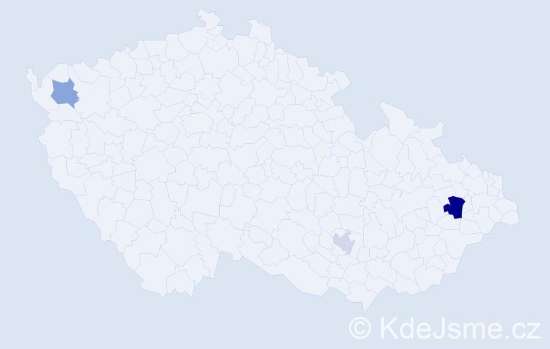 Příjmení: 'Kahligová', počet výskytů 5 v celé ČR