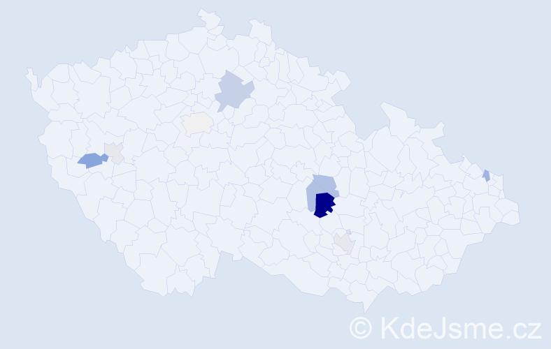 Příjmení: 'Drlová', počet výskytů 21 v celé ČR