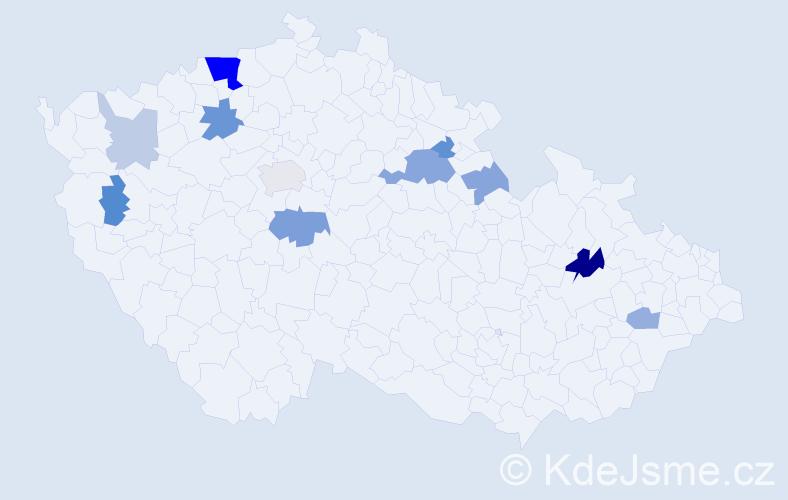 Příjmení: 'Fujdiak', počet výskytů 26 v celé ČR