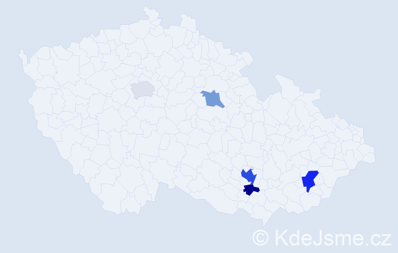 Příjmení: 'Gerichová', počet výskytů 10 v celé ČR
