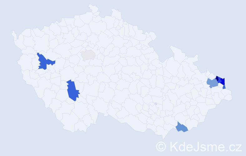 Příjmení: 'Gajovský', počet výskytů 19 v celé ČR