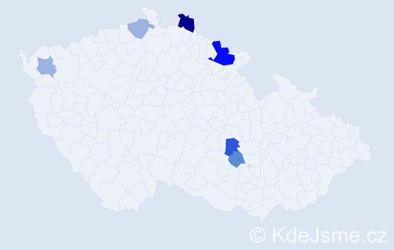 Příjmení: 'Gabrlová', počet výskytů 10 v celé ČR