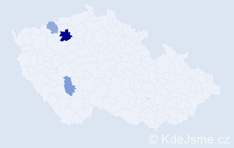 Příjmení: 'Bolyová', počet výskytů 5 v celé ČR