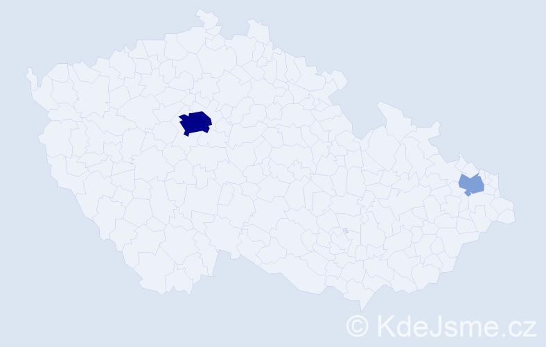 Příjmení: 'Konarovská', počet výskytů 13 v celé ČR