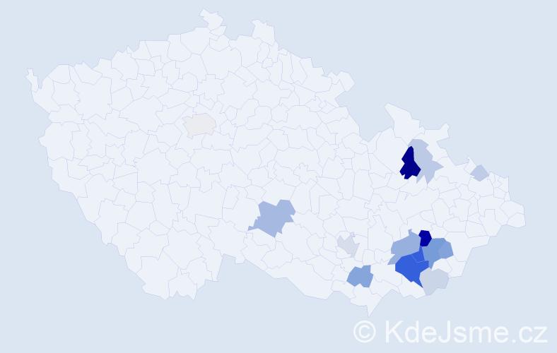 Příjmení: 'Batoušek', počet výskytů 48 v celé ČR