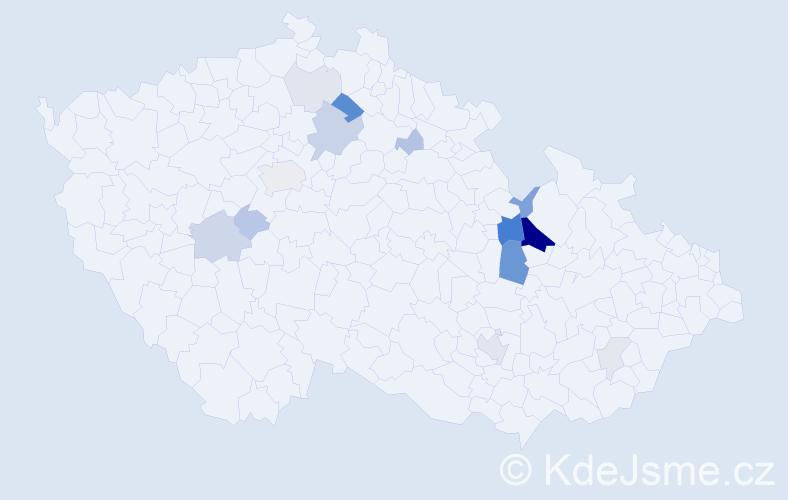 Příjmení: 'Bartášková', počet výskytů 43 v celé ČR
